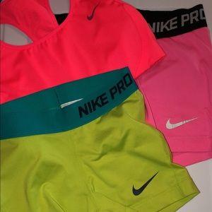 Nike pro spandex and sports bra